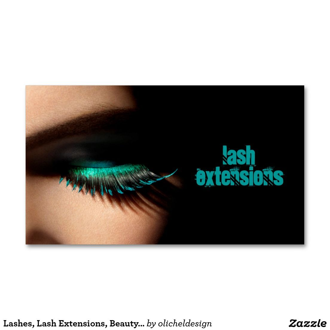 lashes lash extensions beauty salon cosmetology business card