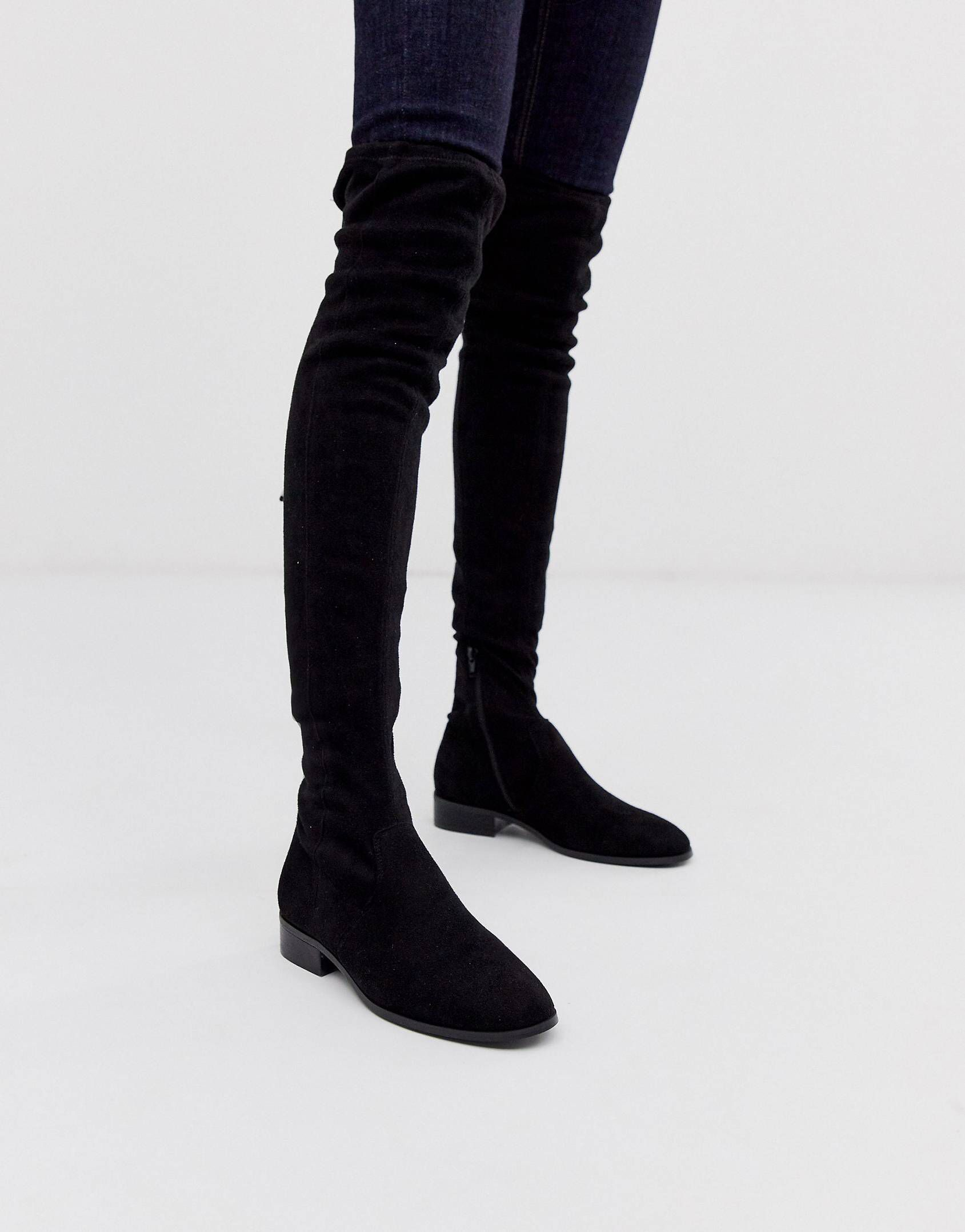 Public Desire Elle flat over the knee boots in black | ASOS
