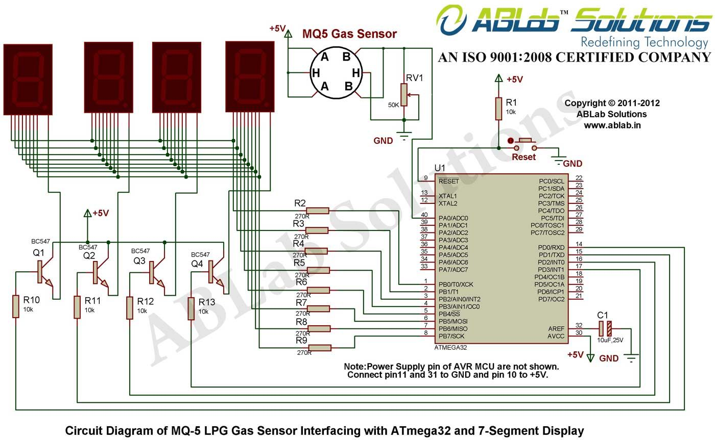 mq 5 lpg gas sensor interfacing with avr atmega32 microcontroller Electrical Diagram
