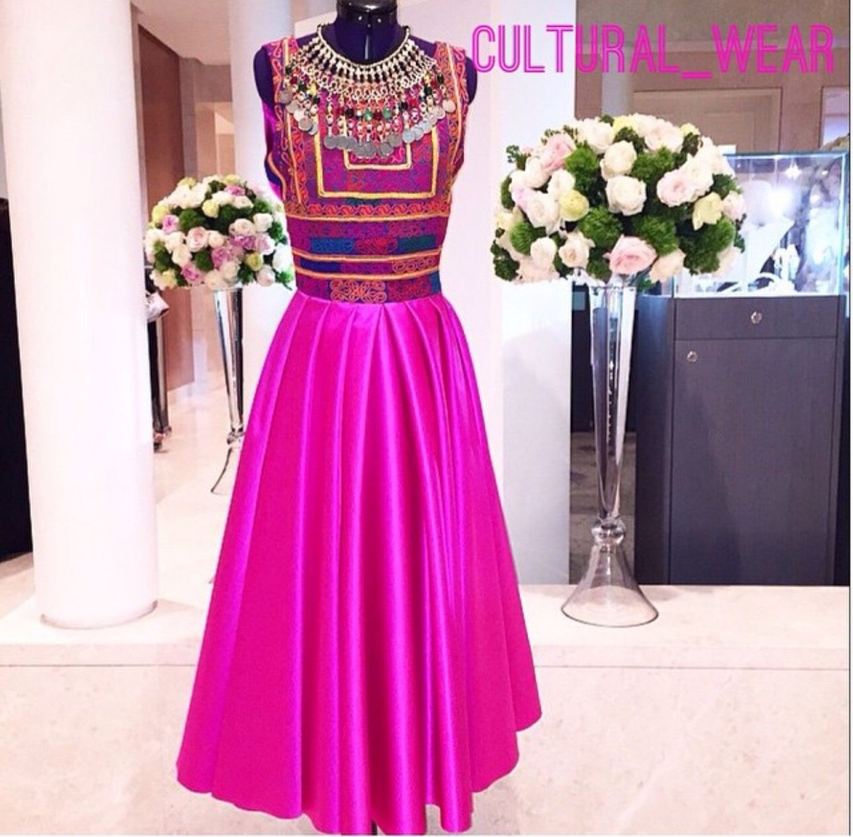 Bright pink satin evening afghan dress. Hand embroidery | FMP ...