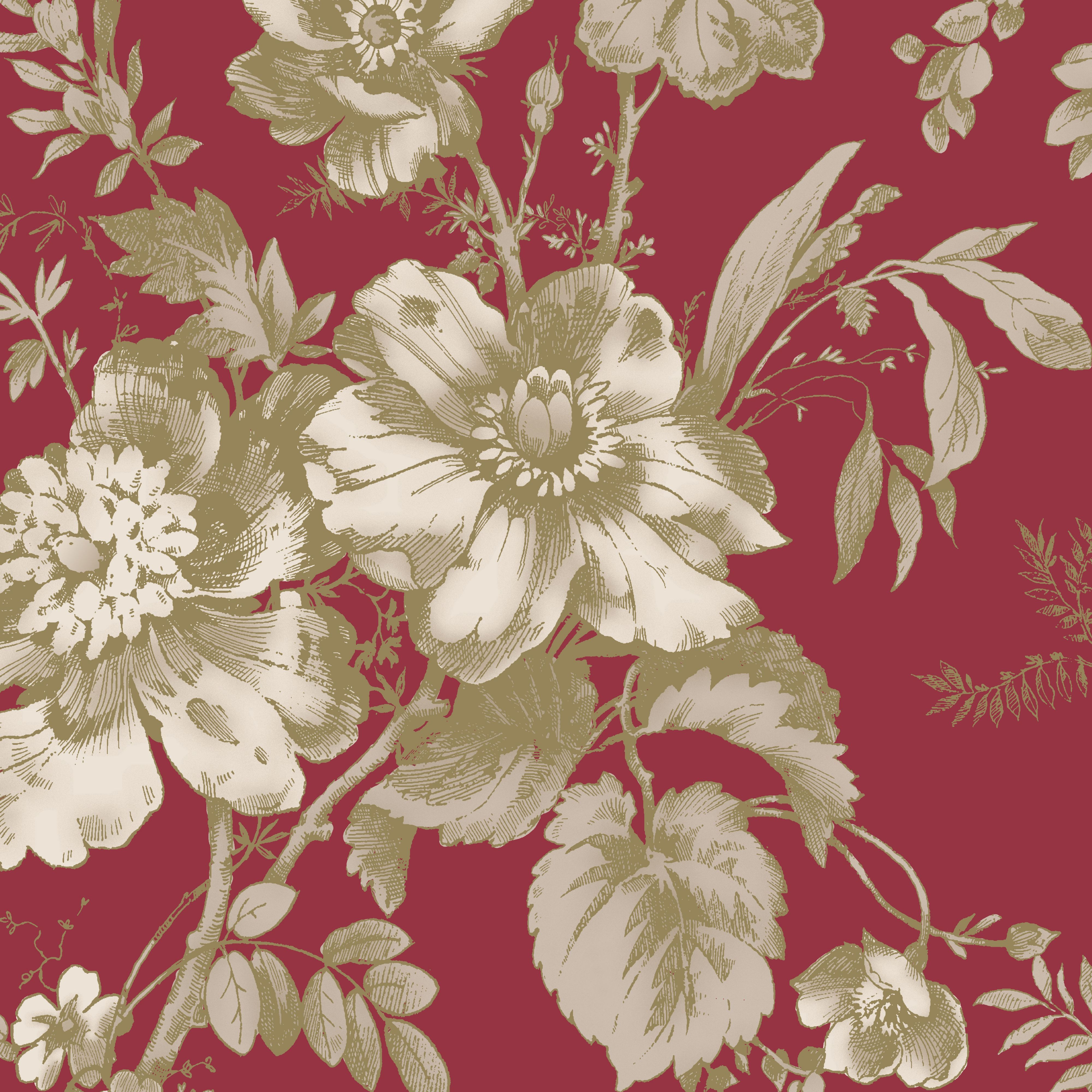 Arthouse Vintage Fleurette Brown Red Wallpaper Departments Diy At B Q Red Wallpaper Floral Wallpaper Home Art