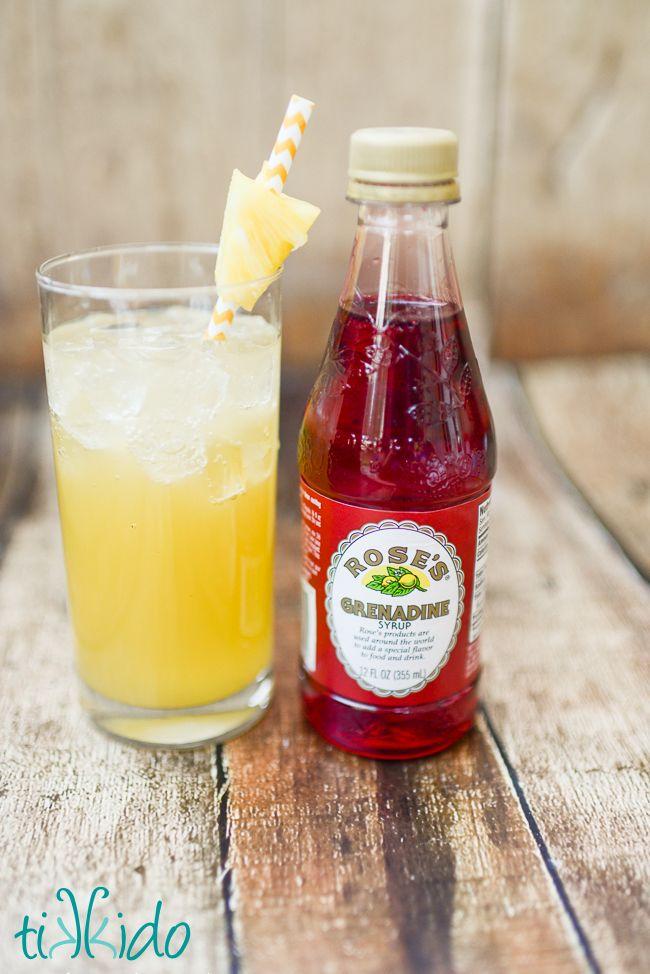 Coconut Malibu rum, pineapple juice, ginger ale, and grenadine syrup ...