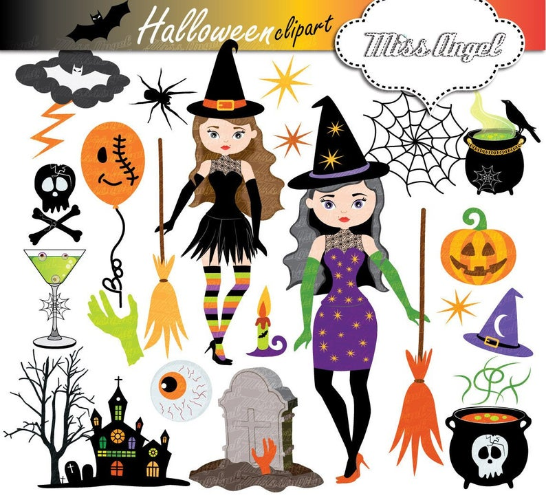 Halloween Witches Clipart Halloween Witch Clip Art Witch Etsy Witch Clipart Halloween Clips Halloween Crafts