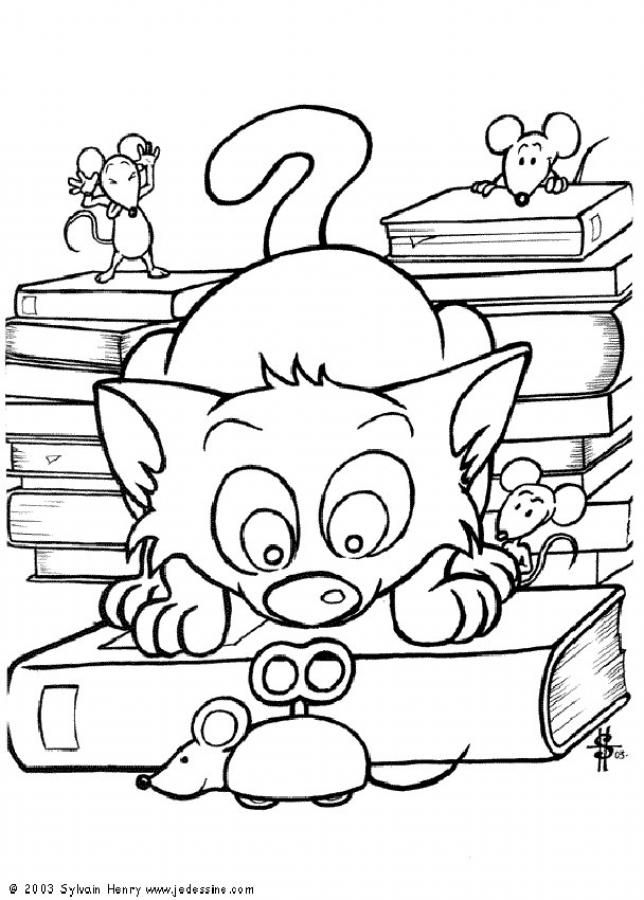 Cat with mechanical mice coloring page. Nice dog drawing