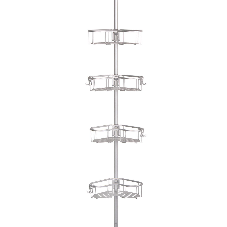 Loft97 Flat Shelf Rustproof Corner Shower Caddy Satin Chrome