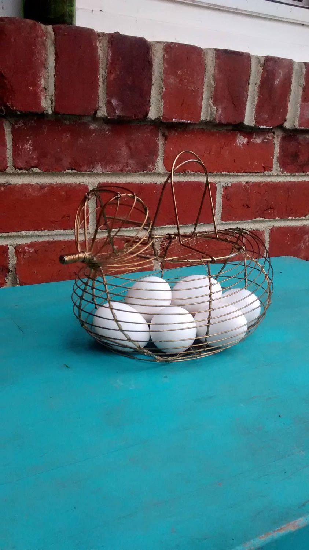 Chicken egg basket wire egg gathering basket harvesting garden ...