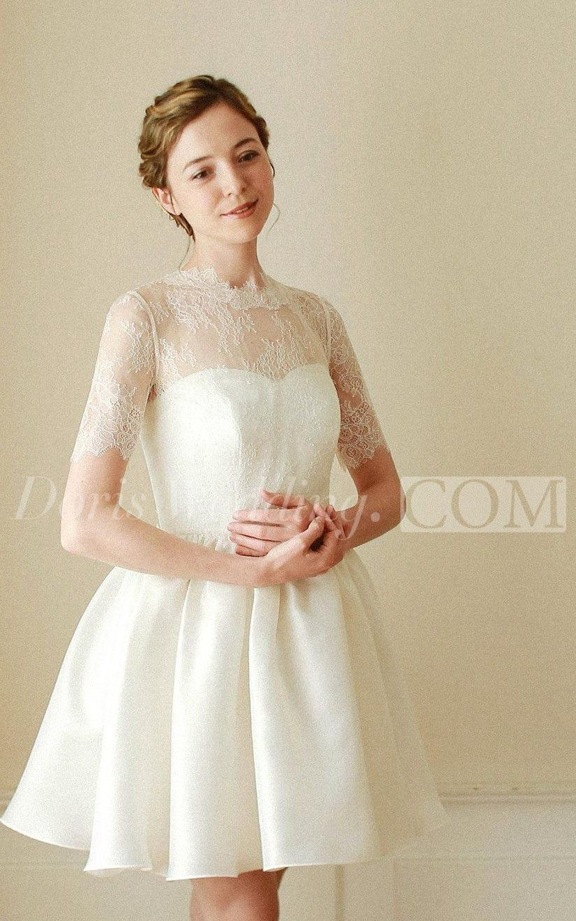 High neck wedding dress lace  USA Line Lace and Satin Short Wedding Dress With Short