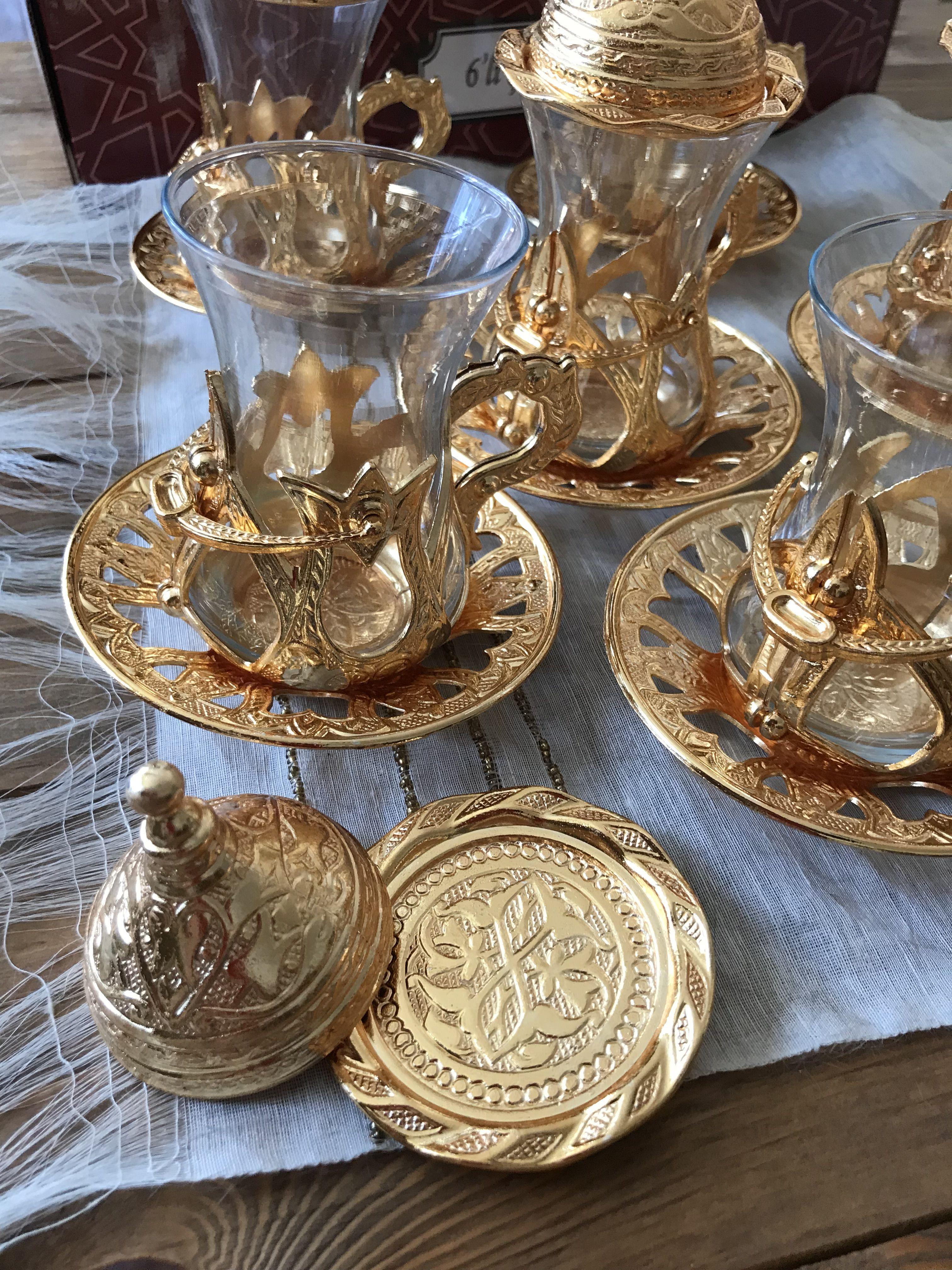 Details about turkish tea set of 6 copper movable holder