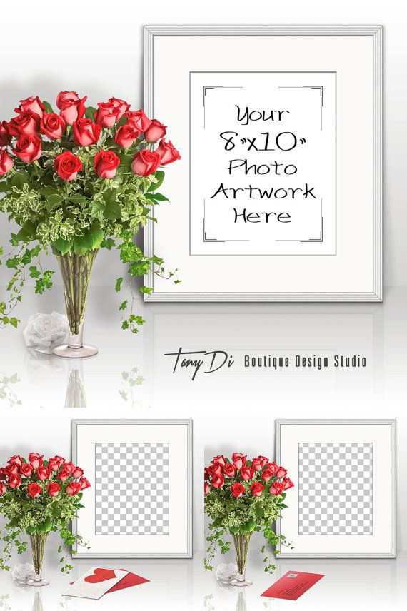 8x10 Portrait White Frame, Red Roses on Table, Poster Frame, Matted ...