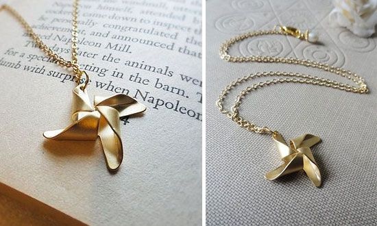 Origami Gold Pinwheel Necklace Origami Gold And Origami Necklace