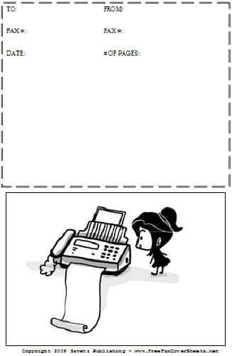 A cartoon person waits anxiously for a fax to roll out on