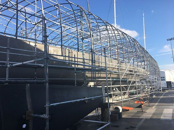 We've teamed up again with the professional DeCabo Yacht Refinishers here in Palma, and made a start on the construction of our Marine Scaffold which will eventually become the protective refit containment for DeCabo to work under, whilst refinishing 32.60m #Wally Sail Yacht Open Season's topside, and to re-new the anti-foul on her #hull. #wevegotitcovered www.technocraftsl.com #theultimateyachtexperience #yachtworld #yachtlifestyle #marinescaffold #yachtcontainment