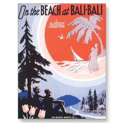On The Beach At Bali Bali Vintage Song Sheet Music Postcard