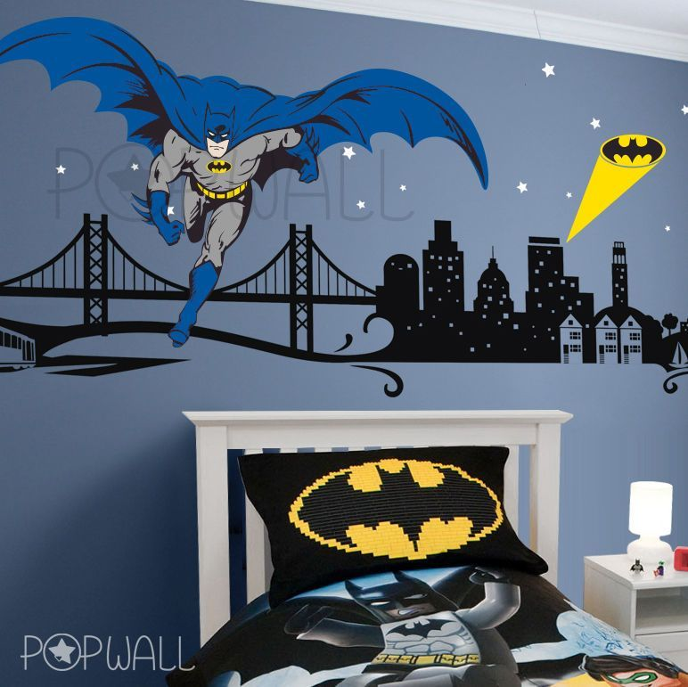 batman wall decal super hero cityscape avengers wall