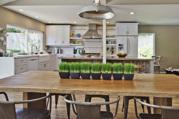rustic wood table from Crate & Barrel with metal tub chairs from ...