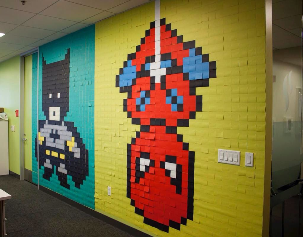 Post it on the wall • Batman and Spiderman | Post It Art | Pinterest ...