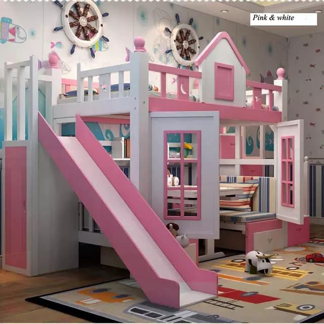 Online Shop 0128tb006 Modern Children Bedroom Furniture Princess Castle With Slide Storages Cabinet Stairs Doubl In 2020 Modern Kids Bedroom Princess Loft Bed Kid Beds