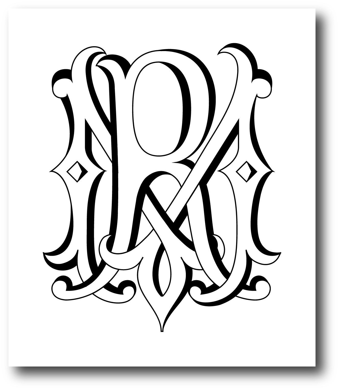 Handcrafted monogram of the Bride (M) & Groom (R) initials