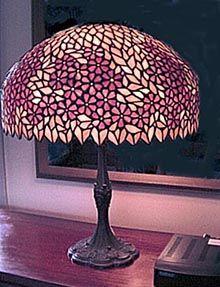 Unique Art Glass & Metal Periwinkle Table Lamp
