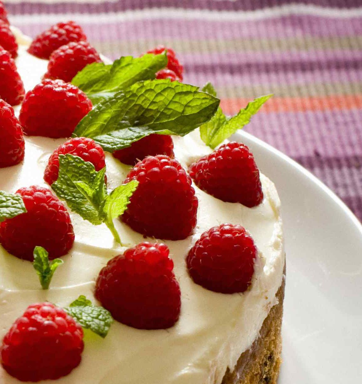 cake with strawberries and mint in icing