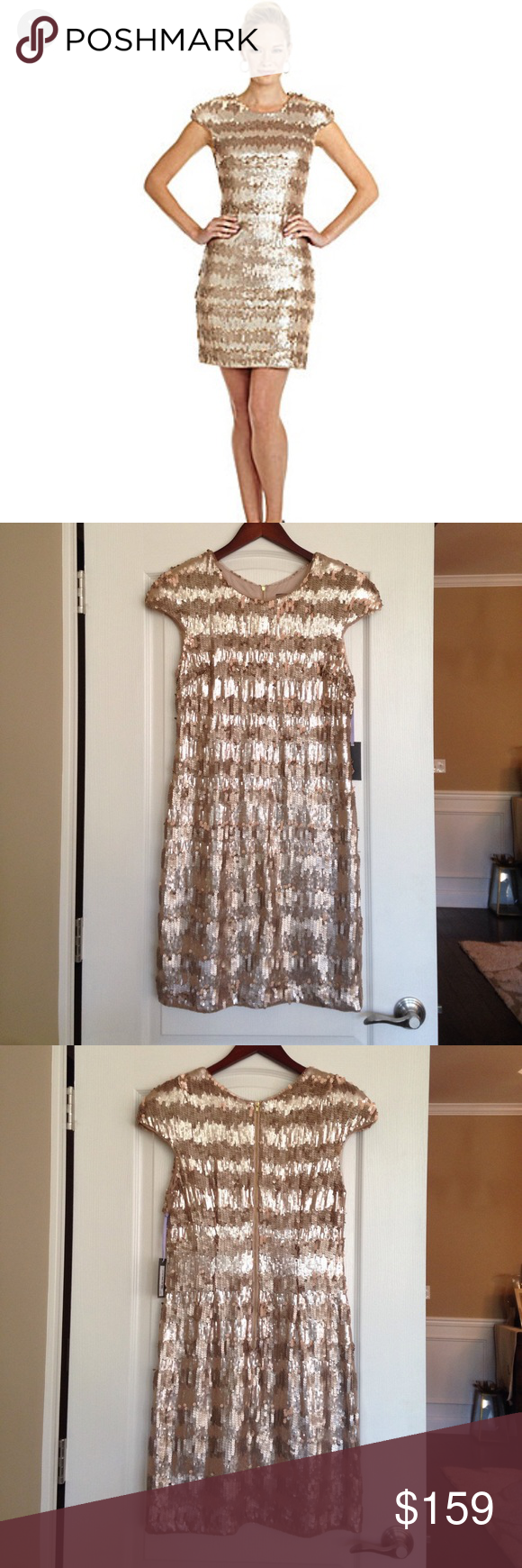 a32874d16d87 Vera Wang NWT Gold Paillette & Sequin Shift Dress