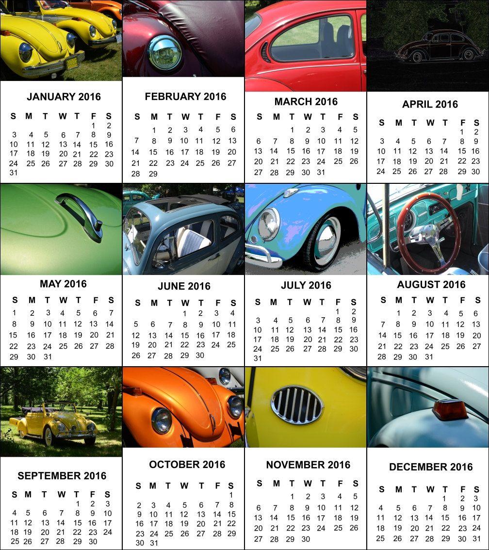 2016 Photo Desk Calendar, 12 - 4x6 Photos, Vintage Vw Beetle ...