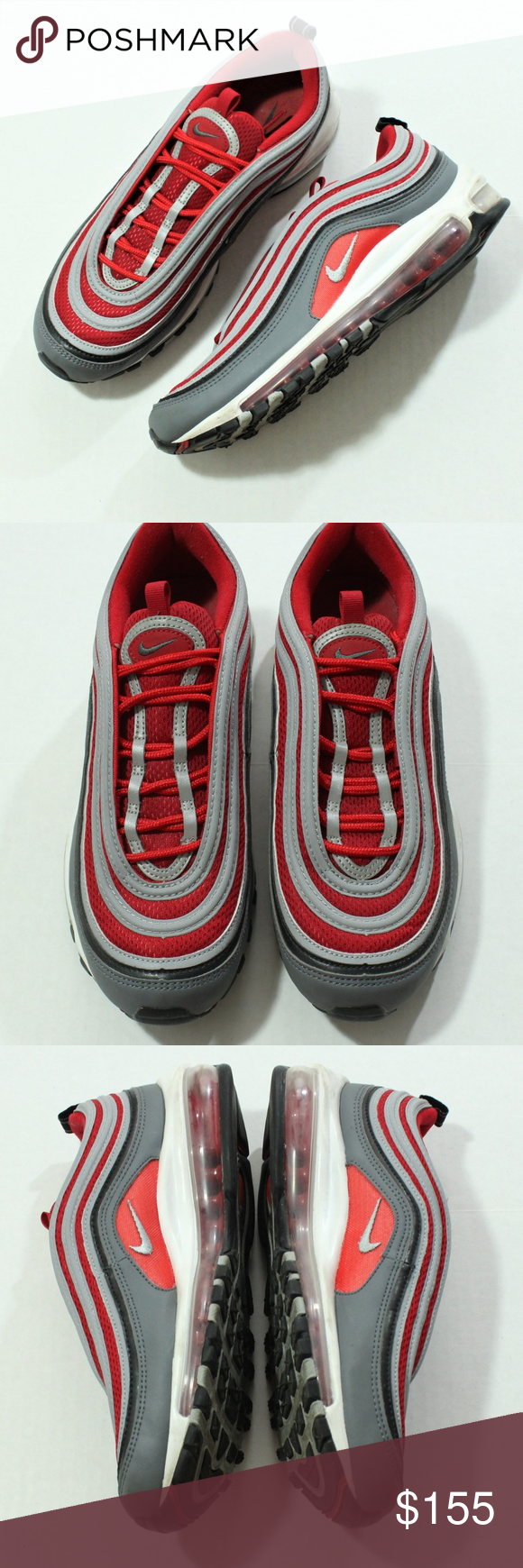 Nike Air Max 97 Dark Grey, Wolf Grey, Gym Red 921826 007 Women's Running Shoes Sneakers