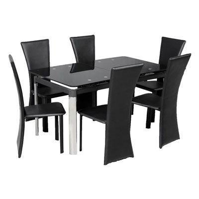 Jupiter Extending Glass Table & 6 Chairs  Decorinterior Design Magnificent Extendable Glass Dining Room Table Design Decoration