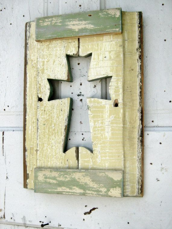 Butter Yellow Wall Cross Recycled Wood Art Celtic by woodenaht | R ...