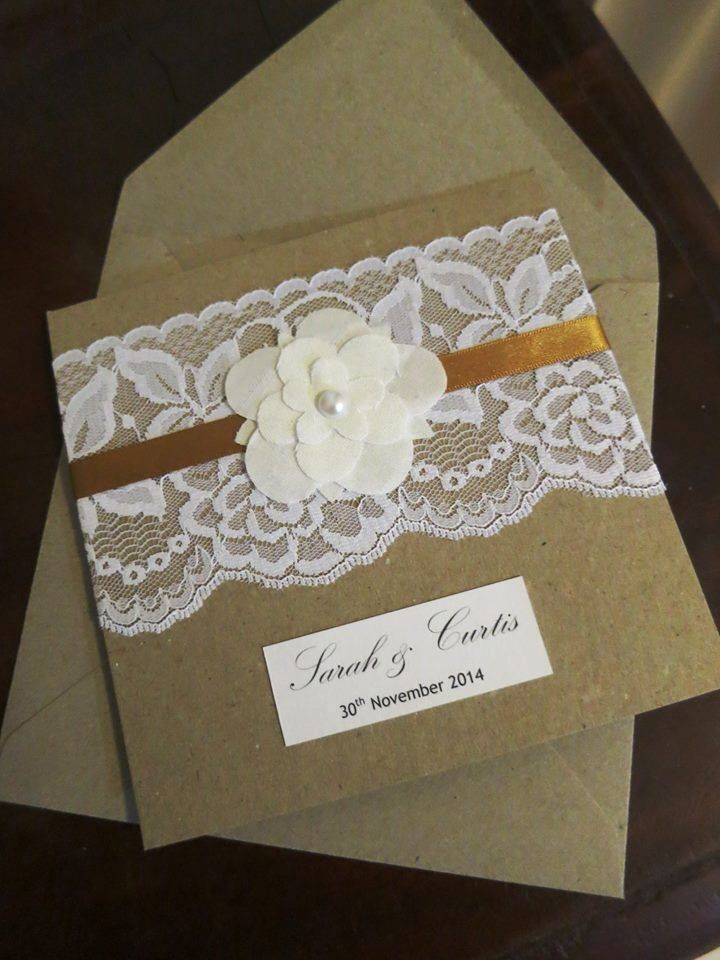 Custom order wedding invitation with handmade fabric flowers ...