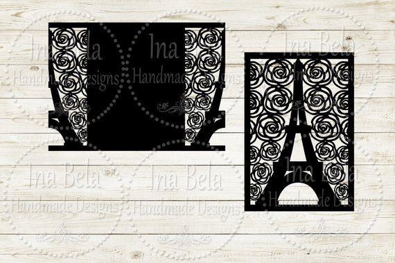 eiffel tower card svg instant download invitation svg cut. Black Bedroom Furniture Sets. Home Design Ideas