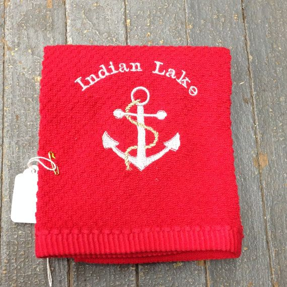 Embroidered Indian Lake Boat Anchor Dish Towel Nautical