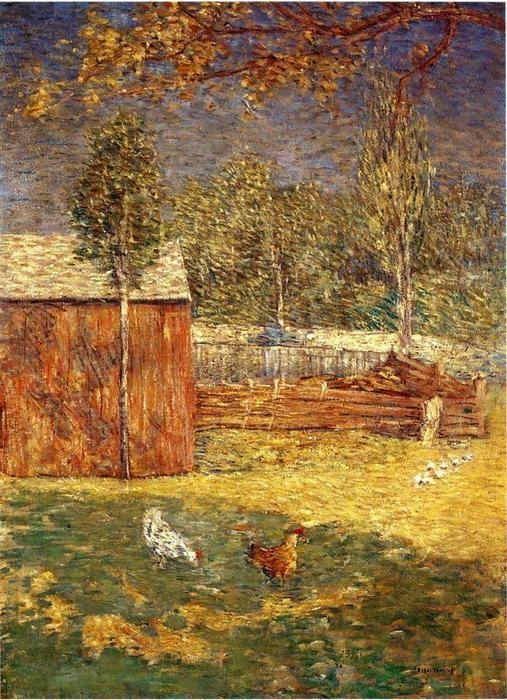"""""""Midi"""", huile sur toile de Julian Alden Weir (1852-1919, United States)"""