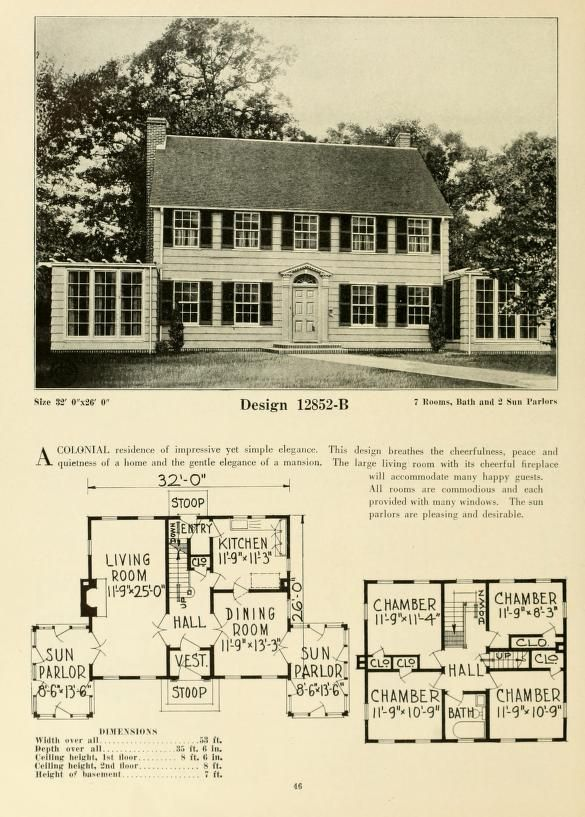 Central S Book Of Homes Colonial House Plans Beach House Plans Vintage House Plans