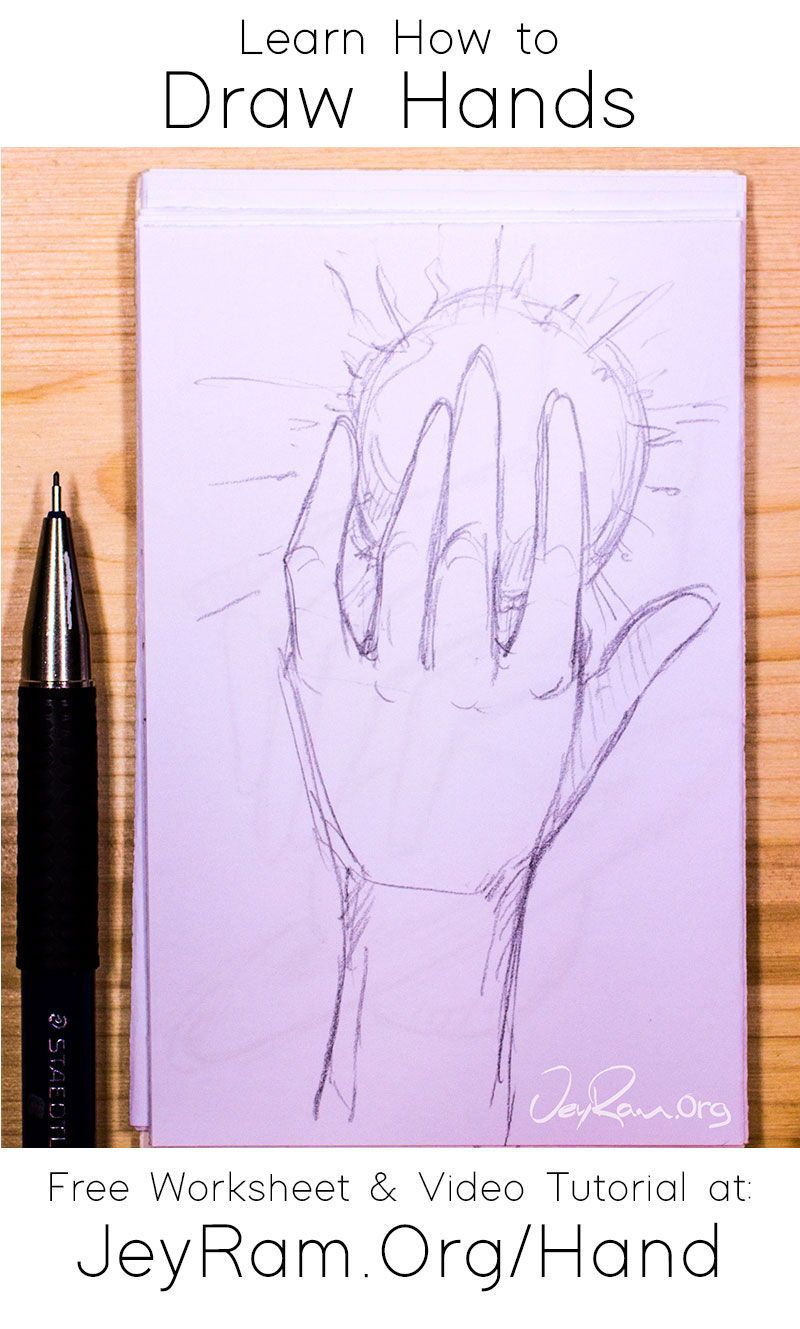 How To Draw Hands Free Worksheet Video Tutorial In 2020 How To Draw Hands Free Hand Drawing Drawings