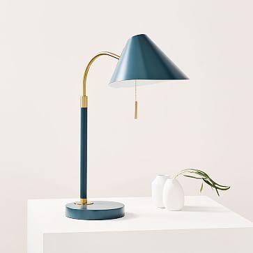Mid Century Task Table Lamp Amp Usb Petrol Blue Task