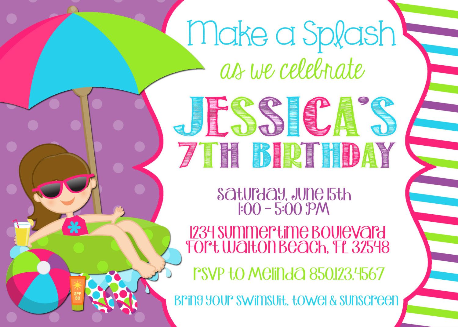 Swimming Pool 5x7 Invitation Birthday Party Printable By So Perfect