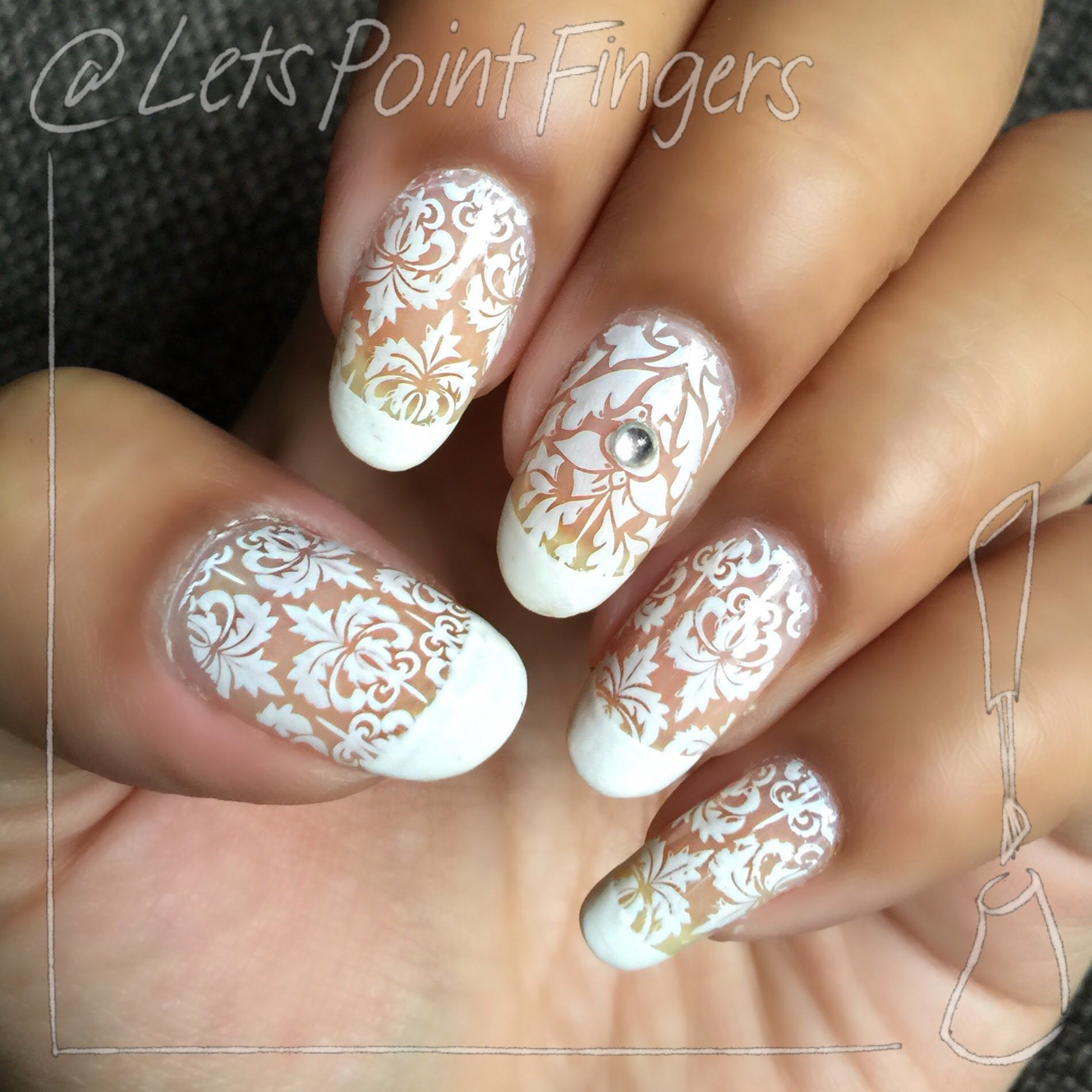 White Lace Nail Stamping Design Beautiful Nail Art Pinterest