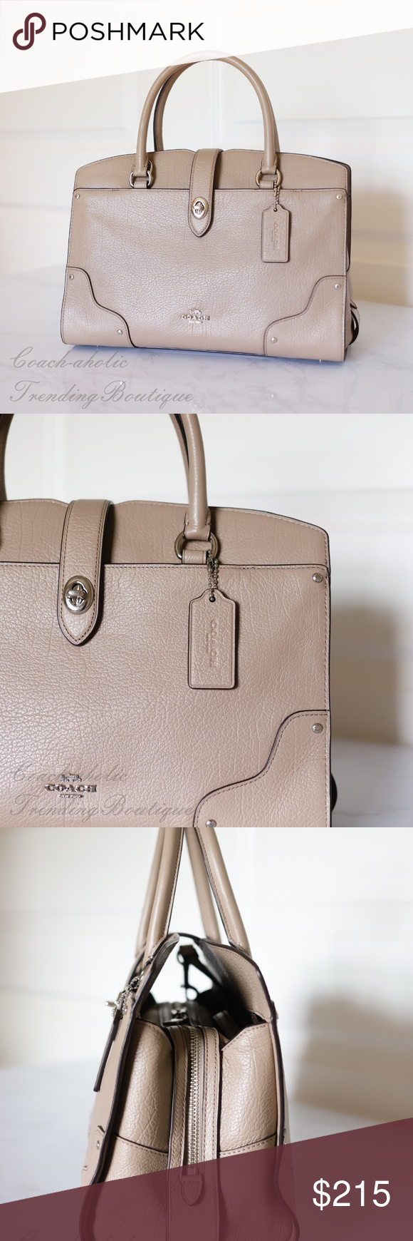NWT Coach F37575 Grain Leather Mercer Satchel 30 In Stone//Silver MSRP $395