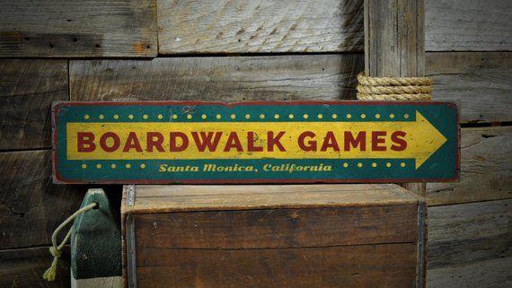 Rustic Distressed Wood Sign ENS1001352 Custom Beach Boardwalk Boardwalk Games