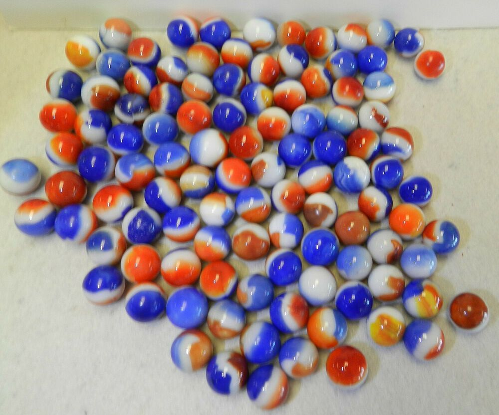 Ebay Sponsored 9699m Vintage Group Or Bulk Lot Of 100 Red White And Blue Marbles Blue Marble Vintage Miniatures Red And White