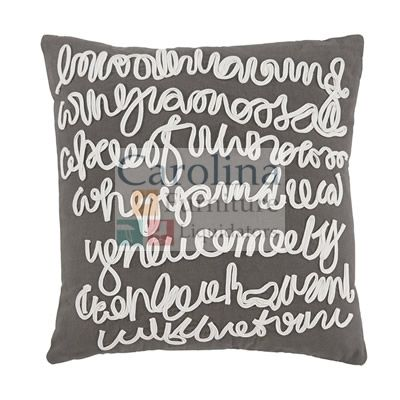 Unique Decorative Pillow Scripted embroidery on the Signature Design Alfie pillow cover is impossible to decipher, but that's what makes it beautiful to behold.