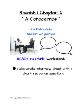 Spanish gustar classmate interview activity spanish ser spanish 1 classmate interview activity for gustar with por que and porquethis is a worksheet that is ready to print there is no prep needed by the teacher fandeluxe