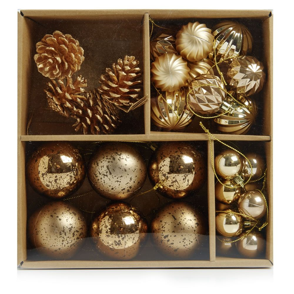 Wilko Christmas Decorations Assorted Mix Gold Let It Glow