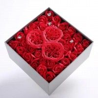Red Passion Square Gift Box Soap Flowers