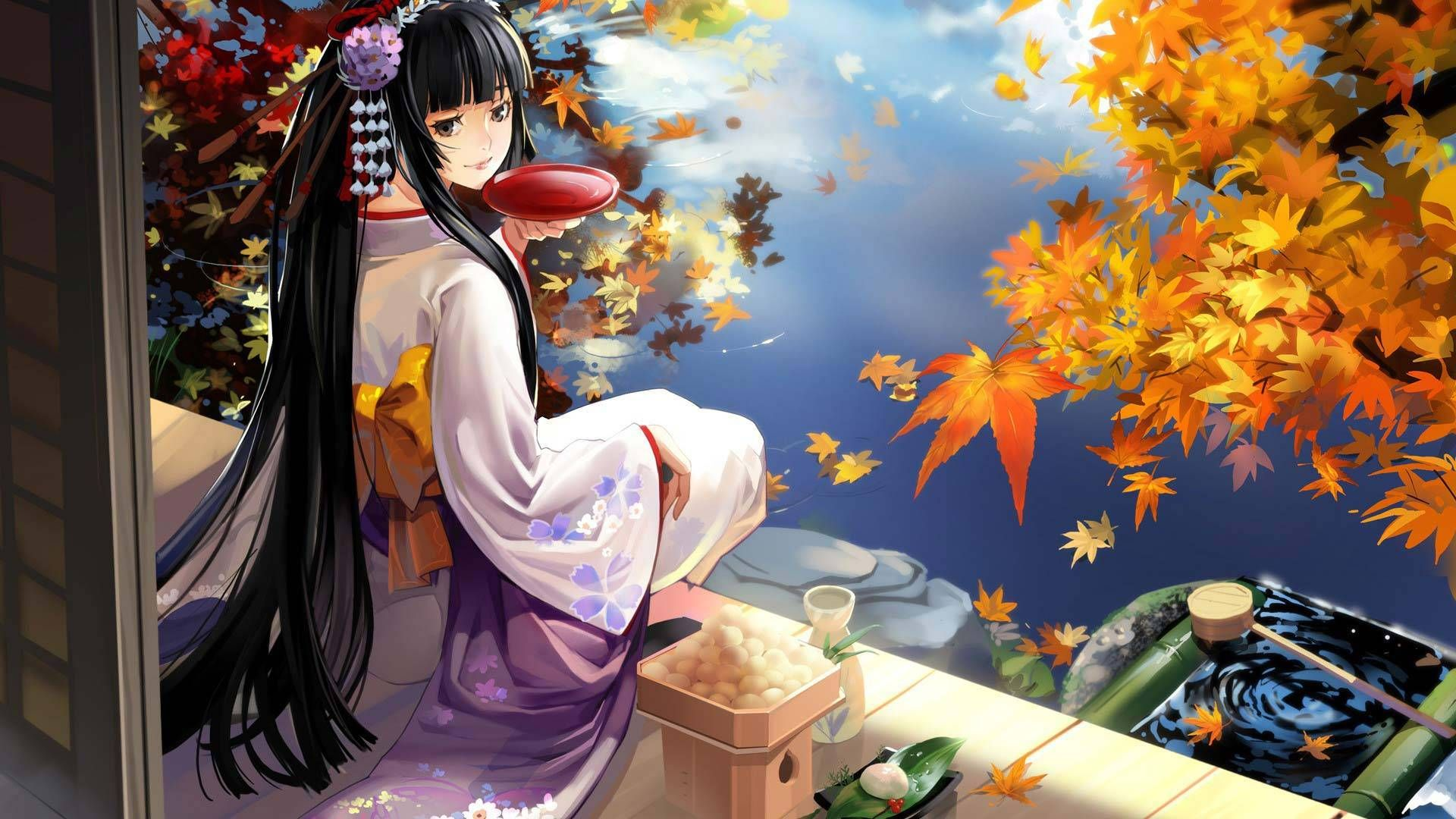 Anime Girl With Kimono Dress Hd Wallpaper Collection