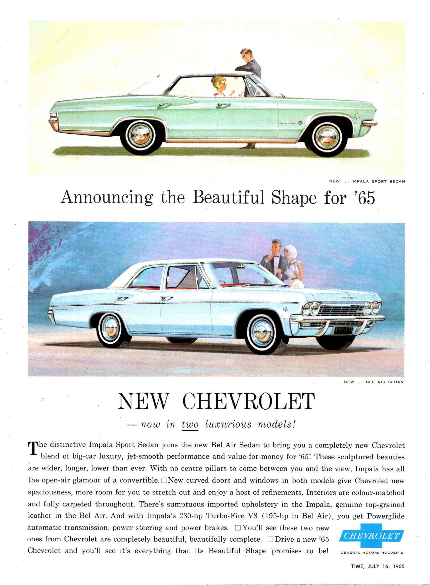 1965 Chevrolet Bel Air Sedan Impala Sport Sedan Aussie Original Magazine Advertisement New Impala Bel Air Chevrolet