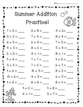 summer end of year basic addition facts practice set of 3 worksheets addition facts. Black Bedroom Furniture Sets. Home Design Ideas