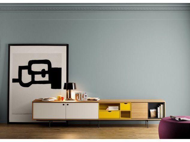 Mobile porta TV moderno / in noce / in quercia / in metallo - AURA ...