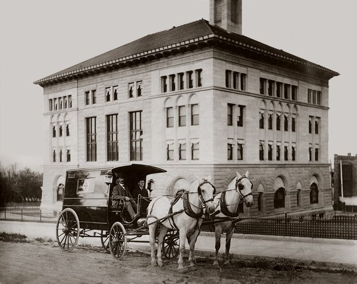 Federal Building - Circa 1910 View of the West Side Showing an early Helena ambulance on North Benton Avenue
